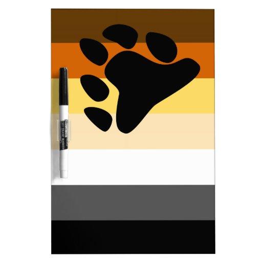 Oso y bandera del orgullo gay de la comunidad LGBT Tablero Blanco