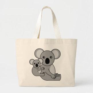 Oso y bebé lindos de koala bolsa tela grande