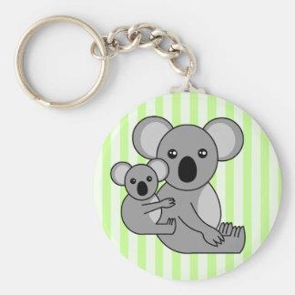 Oso y bebé lindos de koala llavero redondo tipo pin
