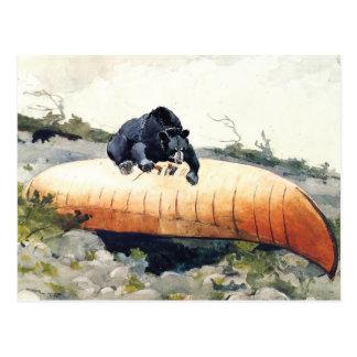 Oso y canoa de Winslow Homer Tarjeta Postal