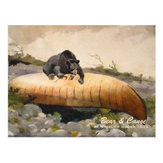 Oso y canoa por el vintage 1895 del home run de postal