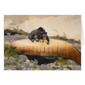 Oso y canoa por las tarjetas 1895 del vintage de