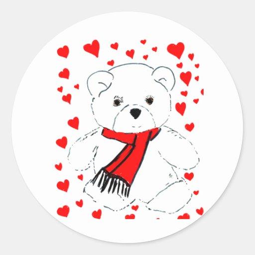 Oso y corazones blancos de peluche etiqueta redonda