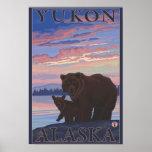 Oso y Cub - el Yukón, Alaska Póster