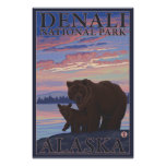 Oso y Cub - parque nacional de Denali, Alaska Póster