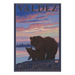 Oso y Cub - Valdez, Alaska Póster