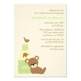 Oso y fiesta de bienvenida al bebé de los bloques invitación 12,7 x 17,8 cm