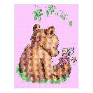 ¡Oso y hada del bebé en bosque! Tarjetas Postales