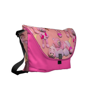 Oso y juguetes rosados de peluche bolsas de mensajería
