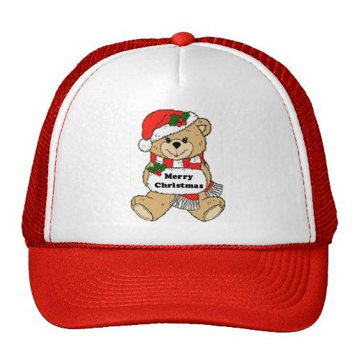 Oso y mensaje de peluche del navidad gorras