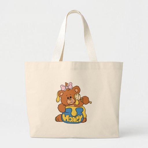 Oso y miel lindos del bebé bolsa tela grande