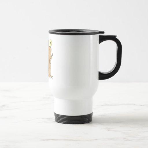 Oso y pájaro traseros de rasguño divertidos taza de café
