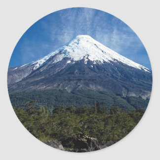 Osoro volcano and Petrolhue river, Lake district, Classic Round Sticker