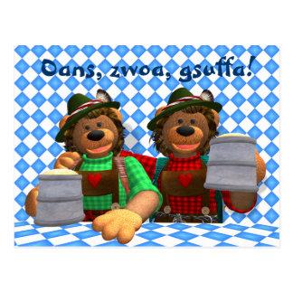 Osos bávaros de Oktoberfest de los osos pequeños Tarjeta Postal