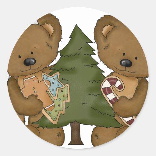 Osos con el árbol de navidad pegatinas redondas