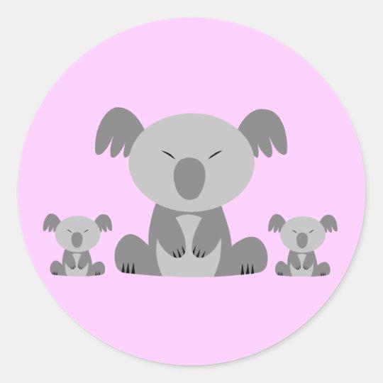 Osos de koala lindos pegatina redonda