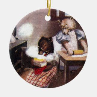 Osos de la hornada del vintage adorno redondo de cerámica