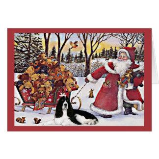 Osos de la tarjeta de Navidad del perro de aguas d