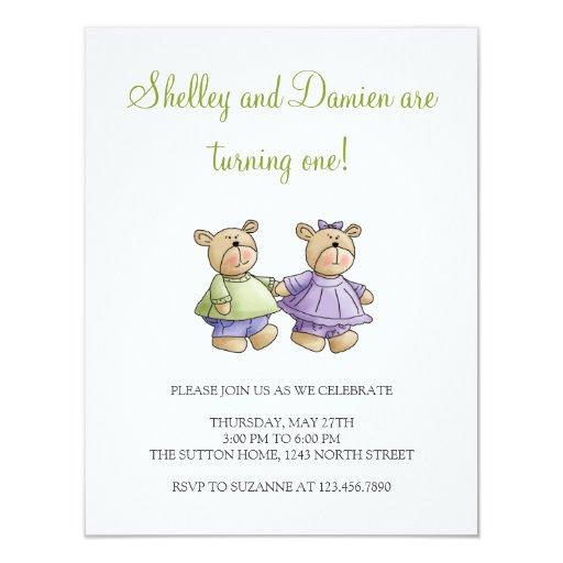 """Osos de Lil · El bebé hermana verde y púrpura Invitación 4.25"""" X 5.5"""""""