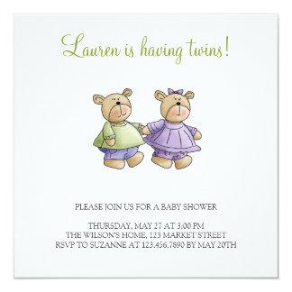 Osos de Lil · El bebé hermana verde y púrpura Invitación 13,3 Cm X 13,3cm