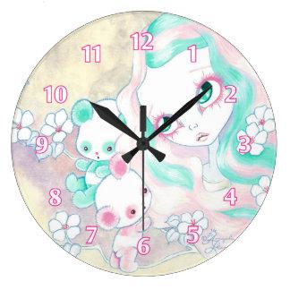 Osos de panda de hadas reloj redondo grande