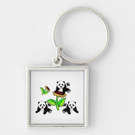 Osos de panda del girasol llavero personalizado