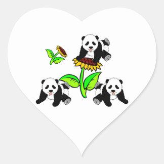 Osos de panda del girasol calcomanía de corazón