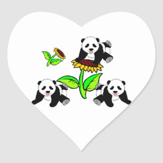 Osos de panda del girasol pegatina en forma de corazón