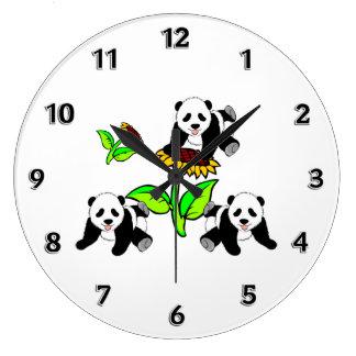 Osos de panda del girasol reloj redondo grande