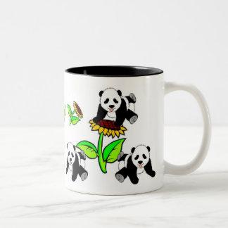 Osos de panda del girasol taza