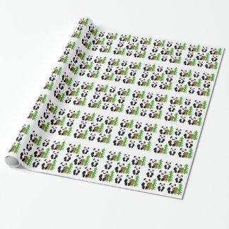 Osos de panda del navidad papel de regalo