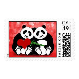 Osos de panda en sello del amor