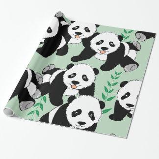 Osos de panda gráficos papel de regalo