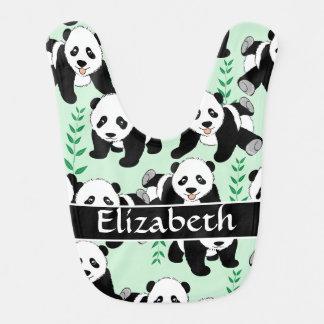 Osos de panda gráficos personalizar baberos para bebé
