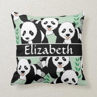 Osos de panda gráficos personalizar cojín decorativo