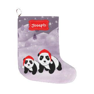 Osos de panda temáticos del navidad lindo calcetín navideño grande