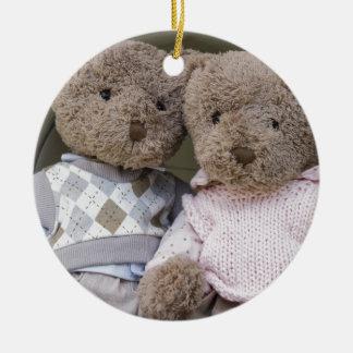 osos de peluche adorno navideño redondo de cerámica
