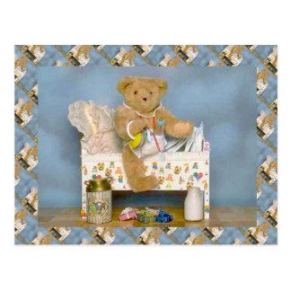 Osos de peluche, bearly bebé, choza y leche postales