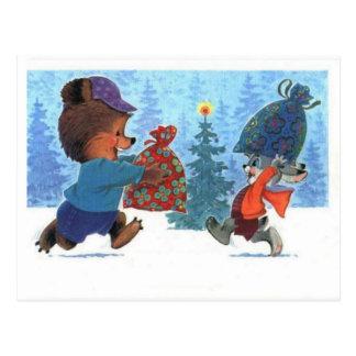Osos de peluche, bearly diversión del navidad en l postal