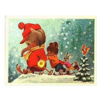 Osos de peluche, bearly diversión en la nieve, nav tarjeta postal