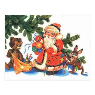 Osos de peluche, bearly navidad, Santa con los ani Postales