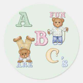 Osos de peluche de la diversión del alfabeto pegatinas redondas