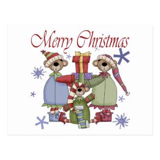 Osos de peluche de las Felices Navidad Tarjetas Postales