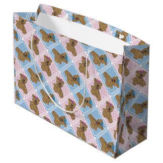 Osos de peluche del bebé rosado y azul bolsa de regalo grande