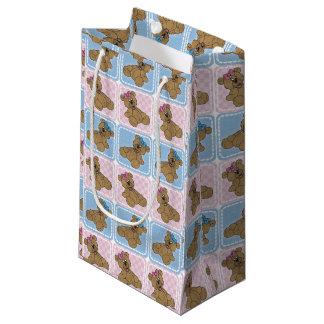 Osos de peluche del bebé rosado y azul bolsa de regalo pequeña