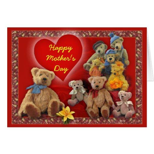 Osos de peluche del día de madre tarjeta de felicitación