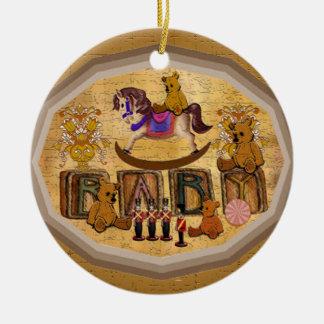 Osos de peluche del vintage adorno navideño redondo de cerámica