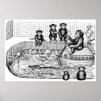 Osos de peluche en la bañera y montar una arca posters