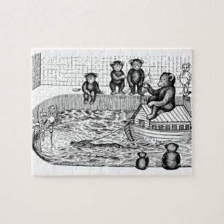 Osos de peluche en la bañera y montar una arca rompecabeza con fotos