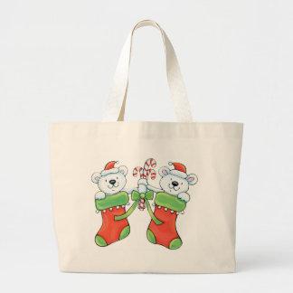 Osos de peluche en medias del navidad bolsas de mano